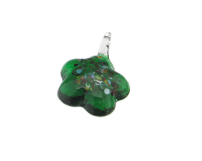 40 x 30mm Green Spot Flower Glass Pendant