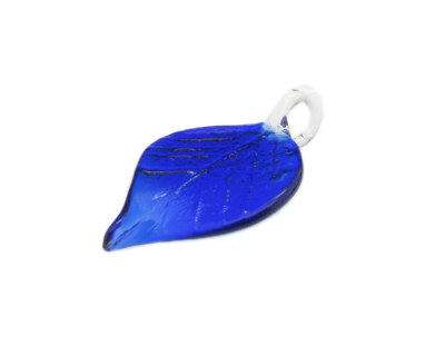 58 x 30mm Blue Leaf Glass Pendant
