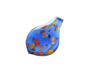 54 x 30mm Blue Spot Drop Glass Pendant