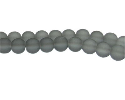 10mm Light Gray Sea/Beach-Style Glass Bead, approx. 22 beads