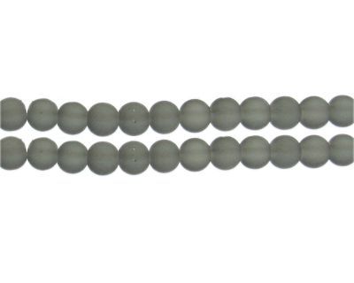 8mm Light Gray Sea/Beach-Style Glass Bead, approx. 53 beads