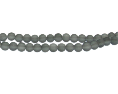6mm Light Gray Sea/Beach-Style Glass Bead, approx. 71 beads