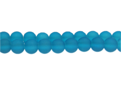 10mm Marine Blue Sea/Beach-Style Glass Bead, approx. 22 beads