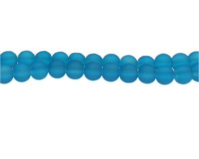 8mm Marine Blue Sea/Beach-Style Glass Bead, approx. 53 beads