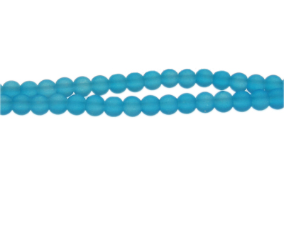 6mm Marine Blue Sea/Beach-Style Glass Bead, approx. 71 beads