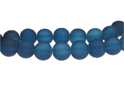12mm Midnight Blue Sea/Beach-Style Glass Bead, approx. 18 beads