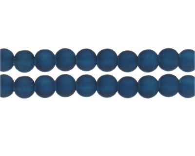 10mm Midnight Blue Sea/Beach-Style Glass Bead, approx. 22 beads