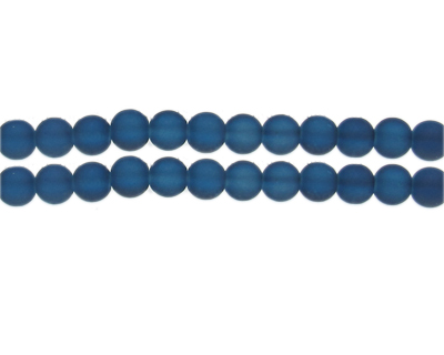 8mm Midnight Blue Sea/Beach-Style Glass Bead, approx. 53 beads