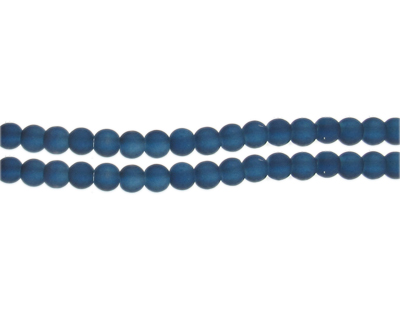 6mm Midnight Blue Sea/Beach-Style Glass Bead, approx. 71 beads
