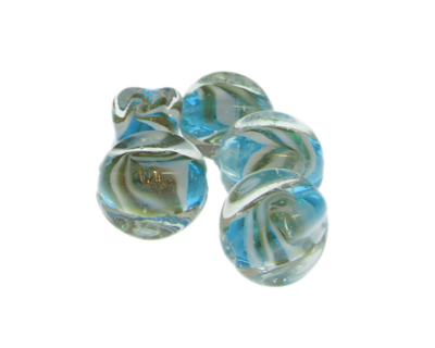 20 x 14mm Turquoise Pattern Lampwork Glass Bead, 5 beads
