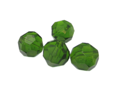 16mm Apple Green Faceted Glass Bead, 4 beads