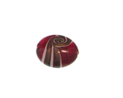 28mm Red Pattern Lampwork Glass Bead