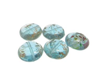 20mm Pale Blue Splatter Lampwork Glass Bead, 5 beads