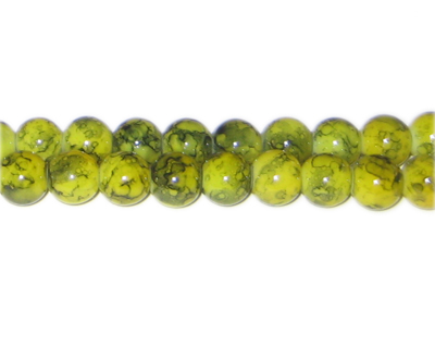8mm Khaki Marble-Style Glass Bead, approx. 55 beads - Click Image to Close