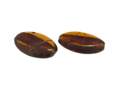 36 x 24mm Golden Brown Oval Lampwork Glass Bead , 2 beads