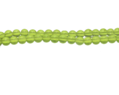 "6mm Apple Green Pressed Glass Bead, 13"" string"