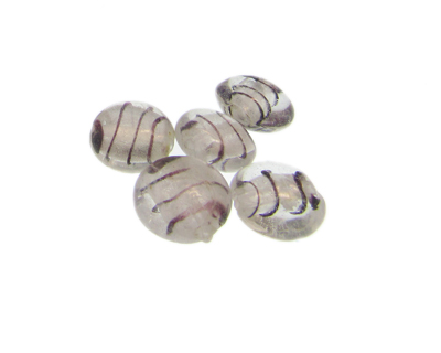 16mm Crystal Foil Striped Lampwork Glass Bead, 5 beads