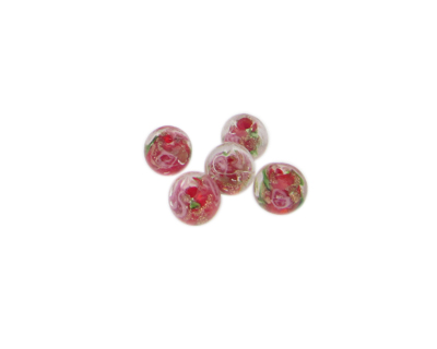 6mm Red Floral Lampwork Glass Bead, 5 beads
