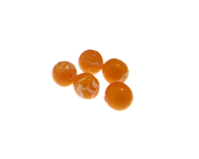 10mm Orange Lampwork Glass Bead, 5 beads