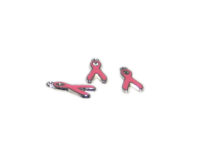 20 x 10mm Pink Cancer Awareness Silver Metal Charm, 3 charms - Click Image to Close