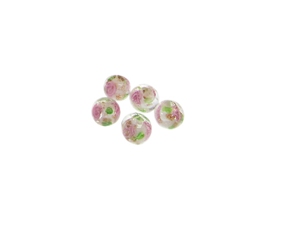 6mm Pink Floral Lampwork Glass Bead, 5 beads