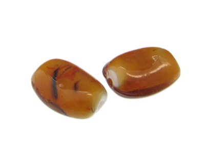 30 x 22mm Deep Gold Lampwork Glass Bead, 2 beads