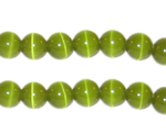 "8mm Apple Green Cat's Eye Bead - 5"" String, approx. 15 beads"