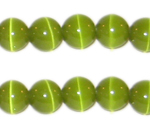 10mm Apple Green Round Cat's Eye Beads, approx. 10 beads
