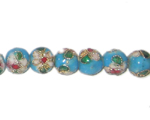 8mm Turquoise Round Cloisonne Bead, 6 beads