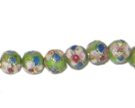 8mm Apple Green Round Cloisonne Bead, 7 beads