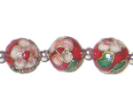 12mm Red Round Cloisonne Bead, 4 beads