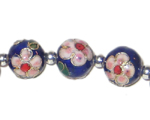12mm Blue Round Cloisonne Bead, 4 beads