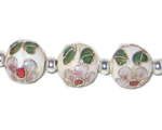 12mm White Round Cloisonne Bead, 4 beads