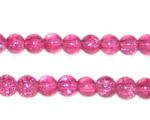6mm Fuchsia Round Crackle Glass Bead, approx. 74 beads