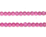 4mm Fuchsia Round Crackle Glass Bead, approx. 105 beads