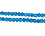 4mm Dark Turquoise Crackle Glass Bead, approx. 105 beads