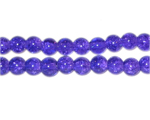 6mm Purple Round Crackle Glass Bead, approx. 74 beads