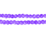 4mm Purple Round Crackle Glass Bead, approx. 105 beads
