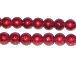8mm Drizzled Red Glass Bead, approx. 37 beads