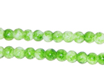 6mm Marble-Style Green Glass Bead, approx. 72 beads
