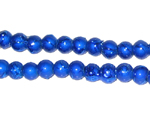 6mm Drizzled Blue Glass Bead, approx. 48 beads