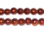 8mm Drizzled Bronze Glass Bead, approx. 37 beads