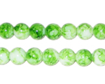 8mm Marble-Style Green Glass Bead, approx. 52 beads