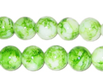 12mm Marble-Style Green Glass Bead, approx. 18 beads