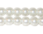 10mm Round White Glass Pearl Bead, approx. 22 beads