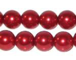 "12mm Red Glass Pearl Bead, 8"" string, approx. 18 beads"