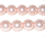 "12mm Baby Pink Glass Pearl Bead - 8"" string, approx. 18 beads"