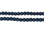 4mm Round Royal Blue Glass Pearl Bead, approx. 113 beads
