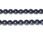 6mm Charcoal Glass Pearl Bead, approx. 78 beads