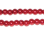 6mm Round Red Glass Pearl Bead